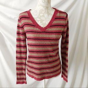 Vintage Stripe Patterned V-Neck Sweater